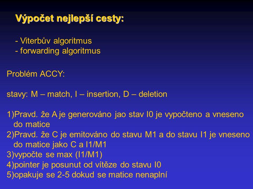 Výpočet nejlepší cesty: - Viterbův algoritmus - forwarding algoritmus Problém ACCY: stavy: M – match, I – insertion, D – deletion 1)Pravd.