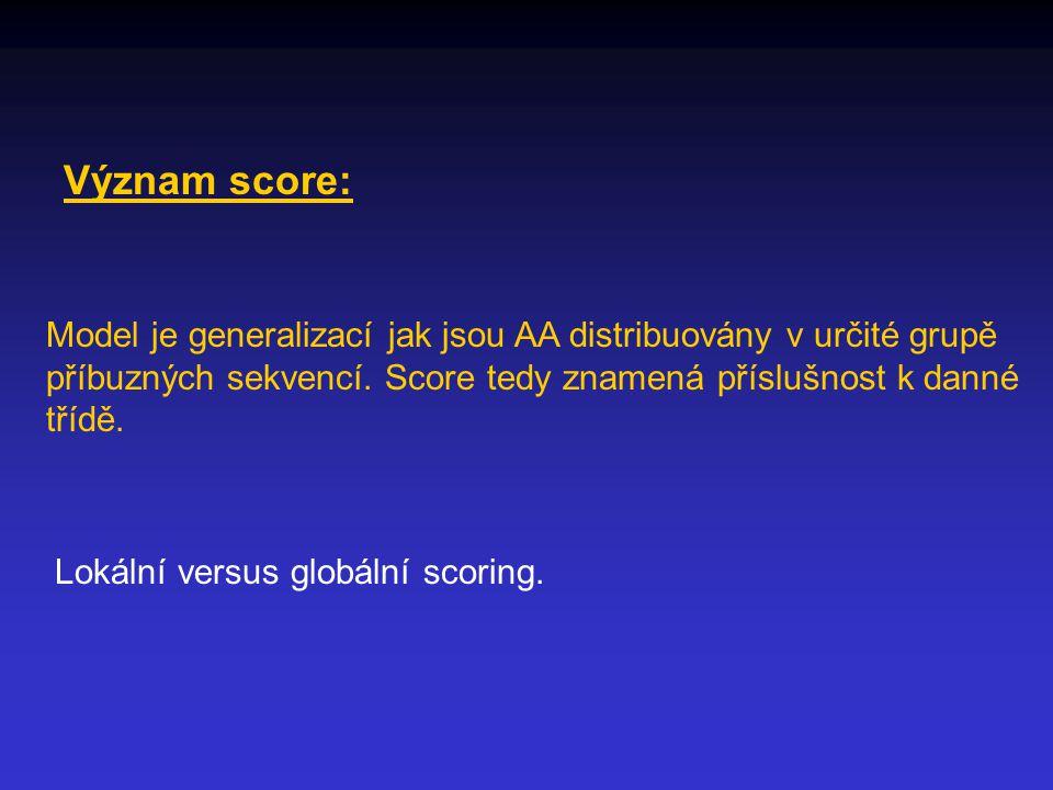 Význam score: Model je generalizací jak jsou AA distribuovány v určité grupě příbuzných sekvencí.