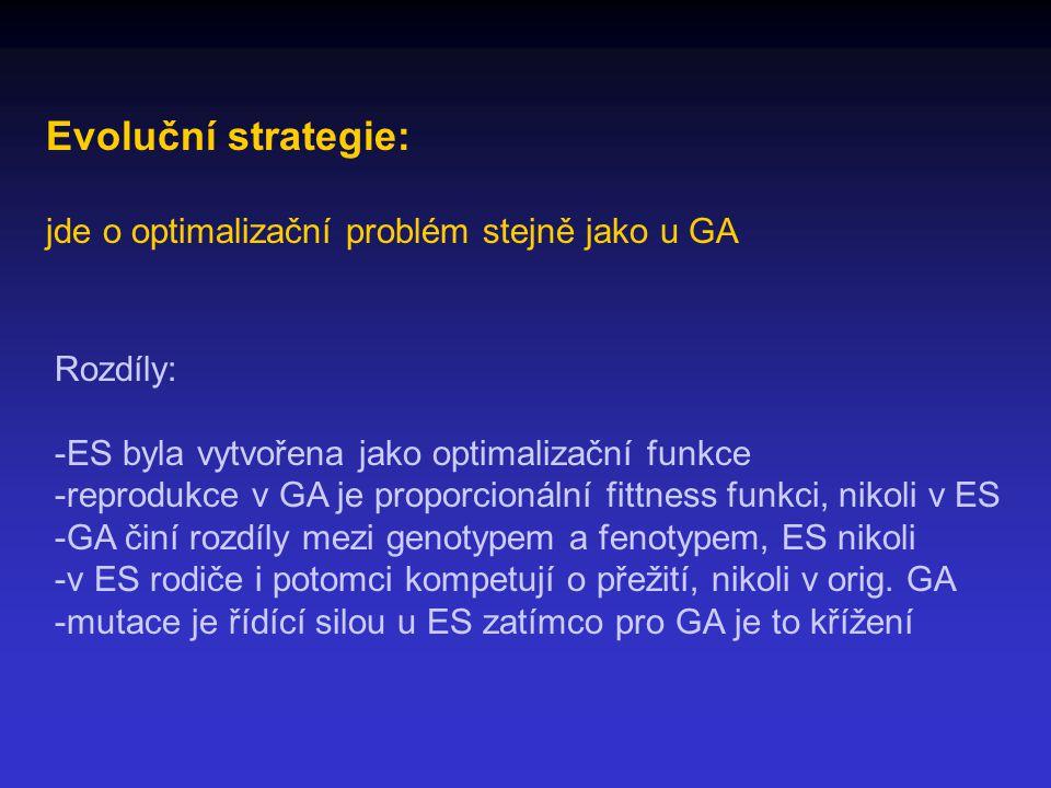 Evoluční strategie: jde o optimalizační problém stejně jako u GA Rozdíly: -ES byla vytvořena jako optimalizační funkce -reprodukce v GA je proporcionální fittness funkci, nikoli v ES -GA činí rozdíly mezi genotypem a fenotypem, ES nikoli -v ES rodiče i potomci kompetují o přežití, nikoli v orig.