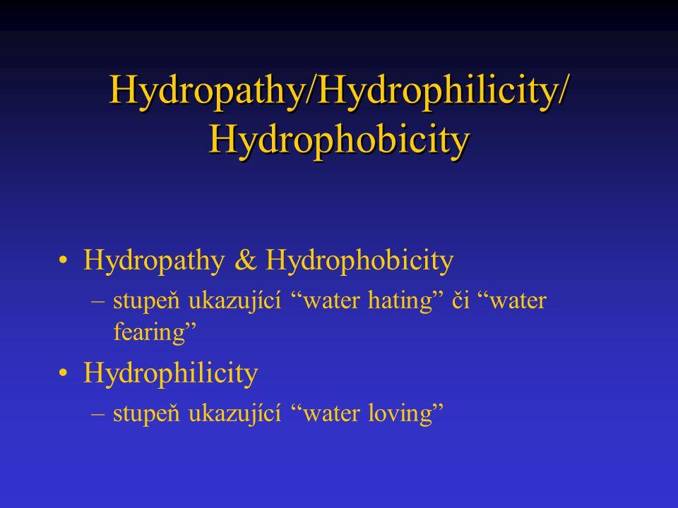 Hydropathy/Hydrophilicity/ Hydrophobicity Hydropathy & Hydrophobicity –stupeň ukazující water hating či water fearing Hydrophilicity –stupeň ukazující water loving