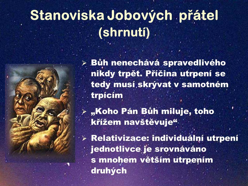 Job ů v postoj v ůč i Bohu (2.etapa)  Jak mluví Job o Bohu.