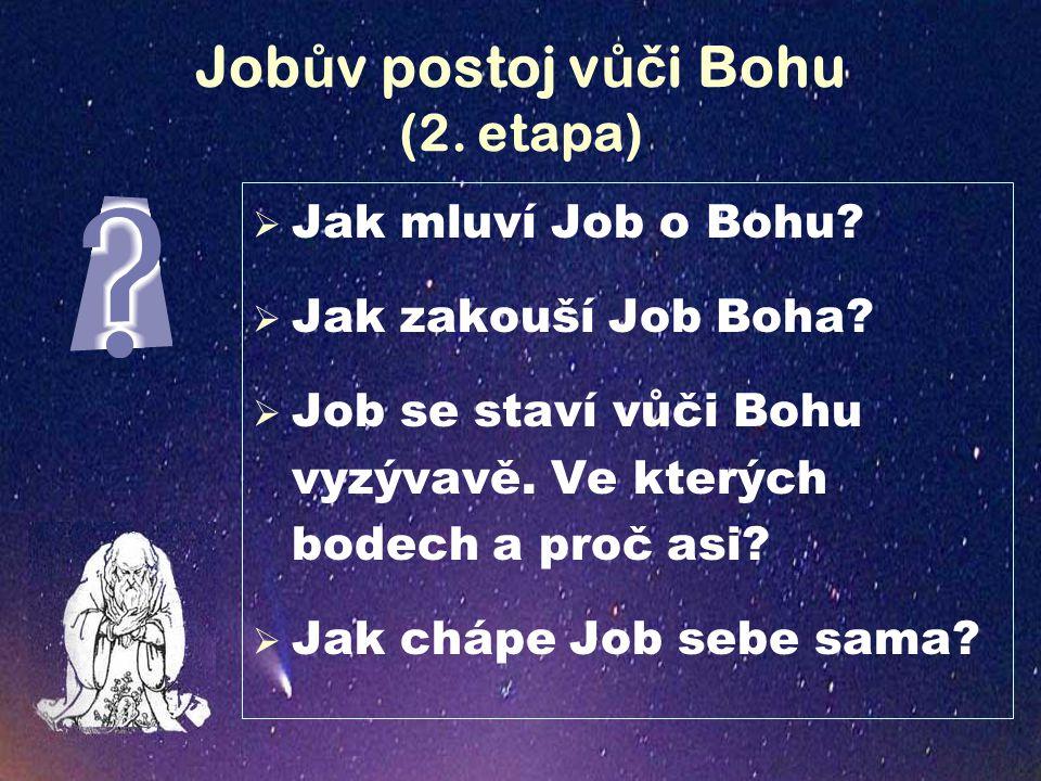 Job ů v postoj v ůč i Bohu (2. etapa)  Jak mluví Job o Bohu.