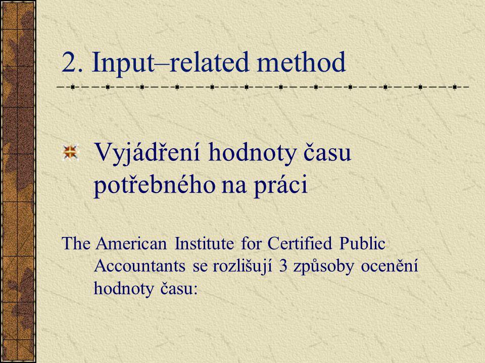 2. Input–related method Vyjádření hodnoty času potřebného na práci The American Institute for Certified Public Accountants se rozlišují 3 způsoby ocen