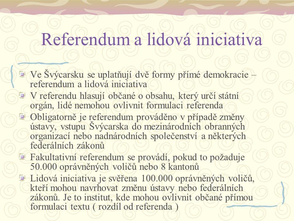 Referendum a lidová iniciativa Ve Švýcarsku se uplatňují dvě formy přímé demokracie – referendum a lidová iniciativa V referendu hlasují občané o obsa
