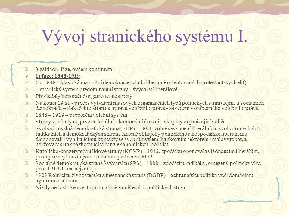 Vývoj stranického systému I. 3 základní fáze, ovšem kontinuita: 1) fáze: 1848-1919 Od 1848 – klasická majoritní demokracie (vláda liberálně orientovan