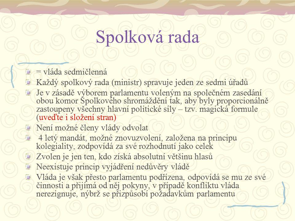 Spolková rada = vláda sedmičlenná Každý spolkový rada (ministr) spravuje jeden ze sedmi úřadů Je v zásadě výborem parlamentu voleným na společném zase