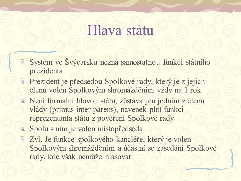 Hlava státu Systém ve Švýcarsku nezná samostatnou funkci státního prezidenta Prezident je předsedou Spolkové rady, který je z jejich členů volen Spolk