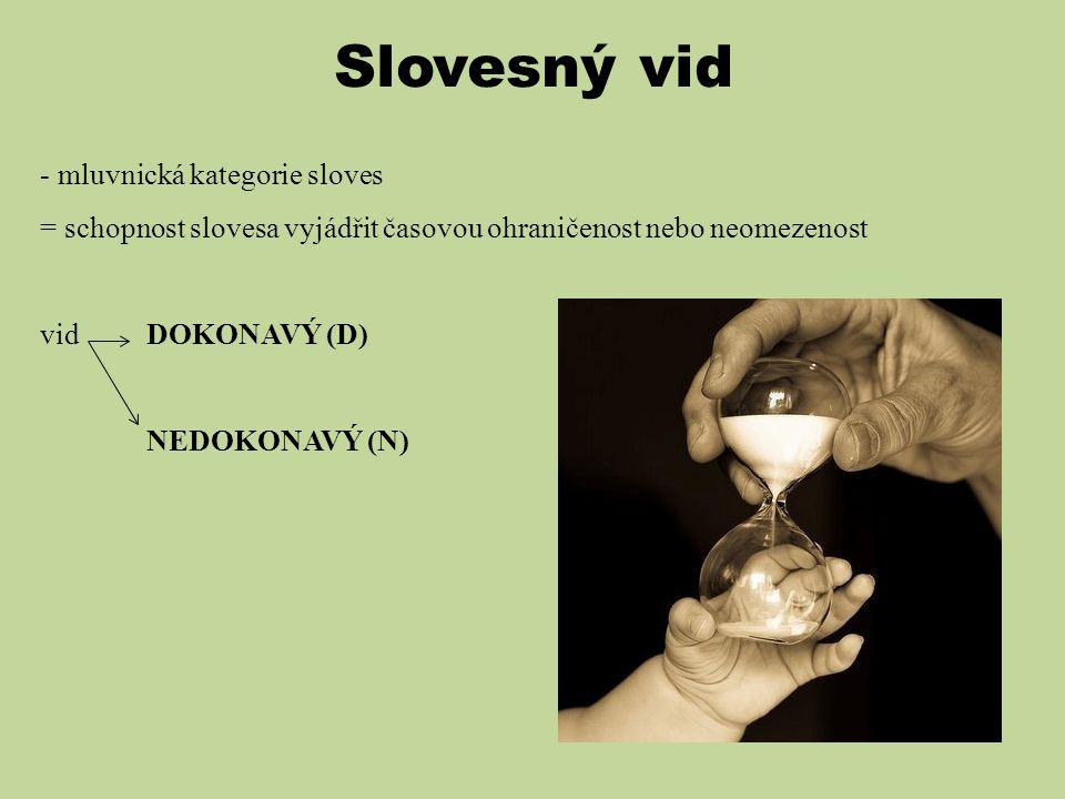 Slovesný vid - mluvnická kategorie sloves = schopnost slovesa vyjádřit časovou ohraničenost nebo neomezenost vidDOKONAVÝ (D) NEDOKONAVÝ (N)