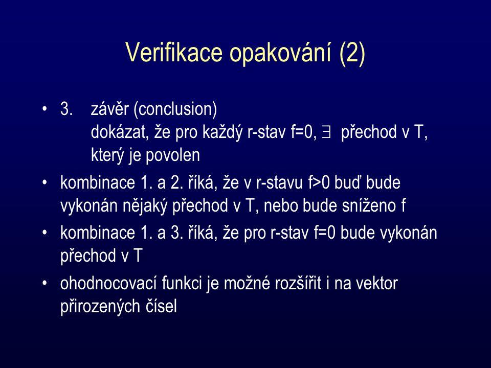 Verifikace opakování (2) 3.závěr (conclusion) dokázat, že pro každý r-stav f=0,  přechod v T, který je povolen kombinace 1.