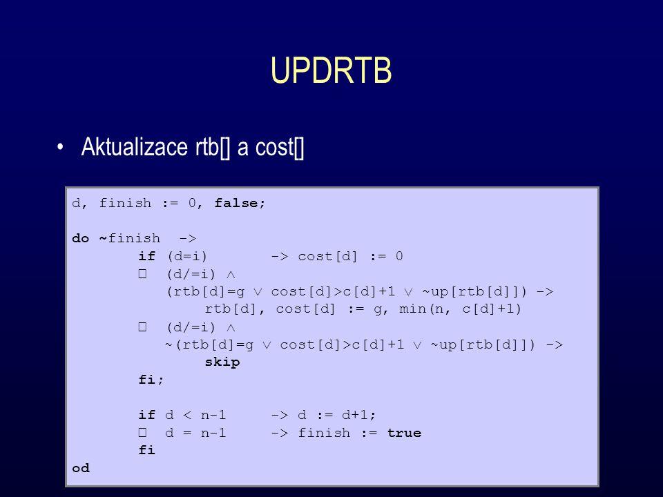 Aktualizace rtb[] a cost[] d, finish := 0, false; do ~finish -> if (d=i)-> cost[d] := 0 (d/=i)  (rtb[d]=g  cost[d]>c[d]+1  ~up[rtb[d]])-> rtb[d], cost[d] := g, min(n, c[d]+1) (d/=i)  ~(rtb[d]=g  cost[d]>c[d]+1  ~up[rtb[d]]) -> skip fi; if d d := d+1; d = n-1 -> finish := true fi od UPDRTB