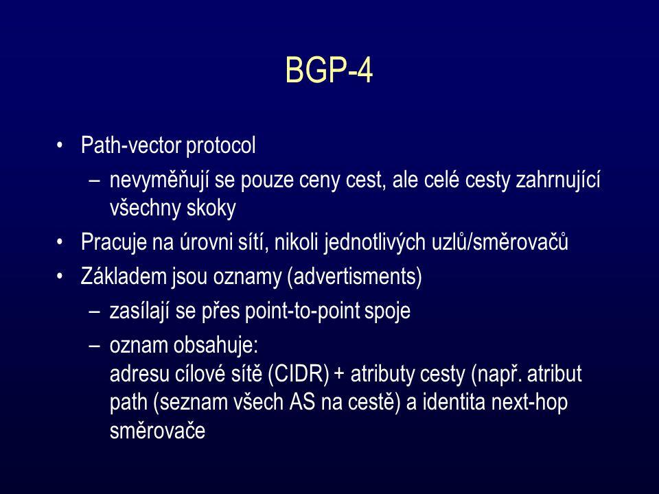 BGP-4 Path-vector protocol –nevyměňují se pouze ceny cest, ale celé cesty zahrnující všechny skoky Pracuje na úrovni sítí, nikoli jednotlivých uzlů/směrovačů Základem jsou oznamy (advertisments) –zasílají se přes point-to-point spoje –oznam obsahuje: adresu cílové sítě (CIDR) + atributy cesty (např.