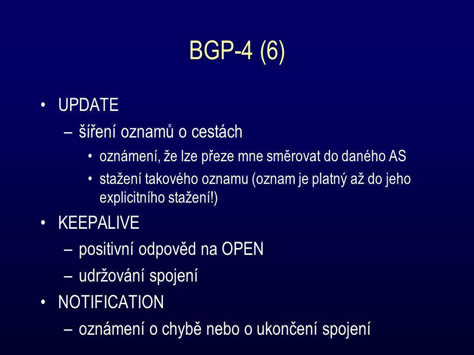I-BGP Distribuce informací o přilehlých AS mezi směrovači uvnitř AS –všechny směrovače uvnitř AS se považují za peery z pohledu I-BGP –I-BGP směrovače mohou oznamovat pouze cesty, které se dozvědely přímo od jiného I-BGP směrovače