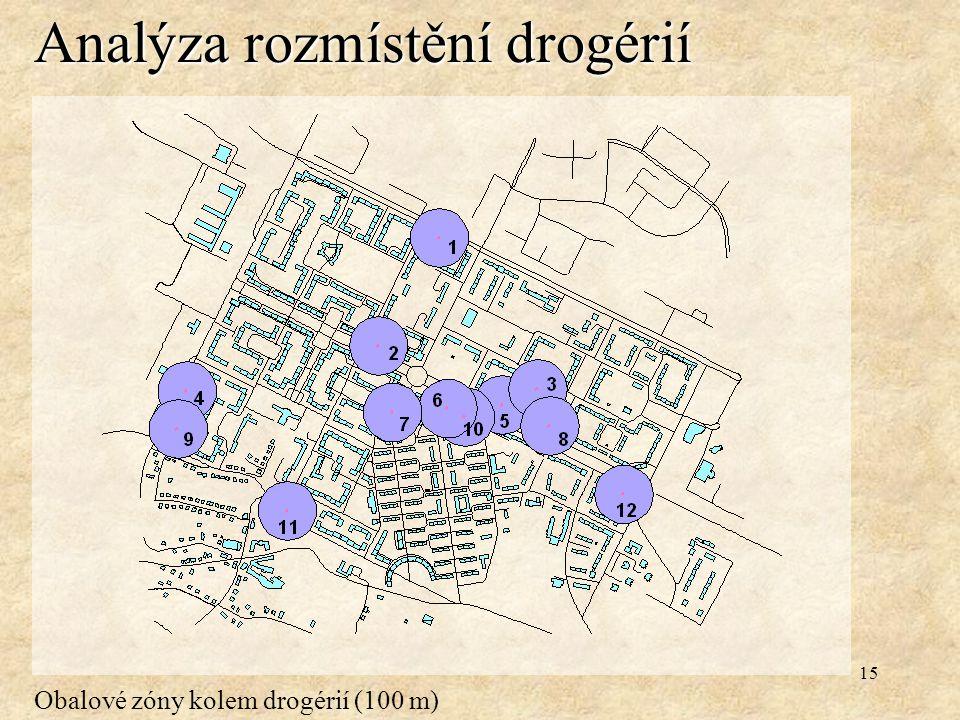 15 Analýza rozmístění drogérií Obalové zóny kolem drogérií (100 m)