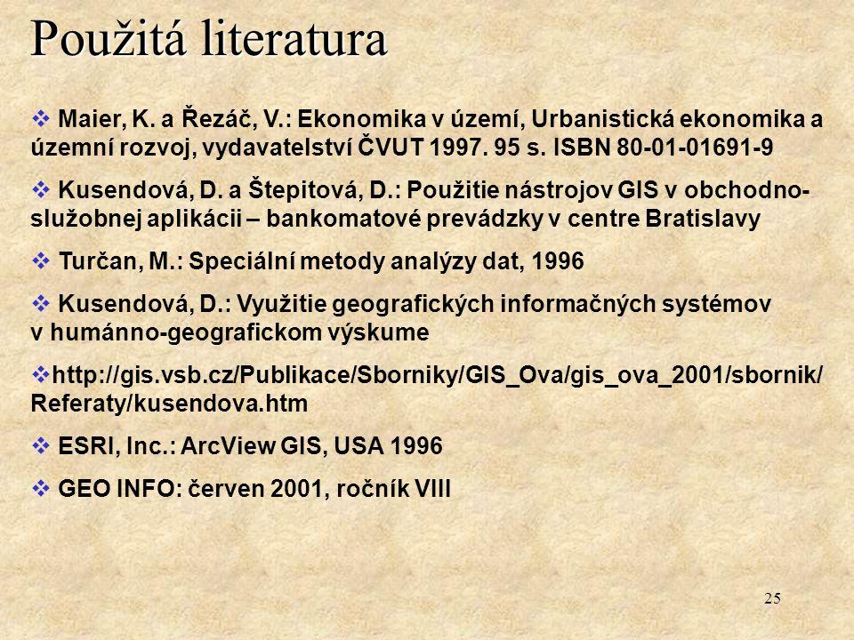 25 Použitá literatura  Maier, K. a Řezáč, V.: Ekonomika v území, Urbanistická ekonomika a územní rozvoj, vydavatelství ČVUT 1997. 95 s. ISBN 80-01-01