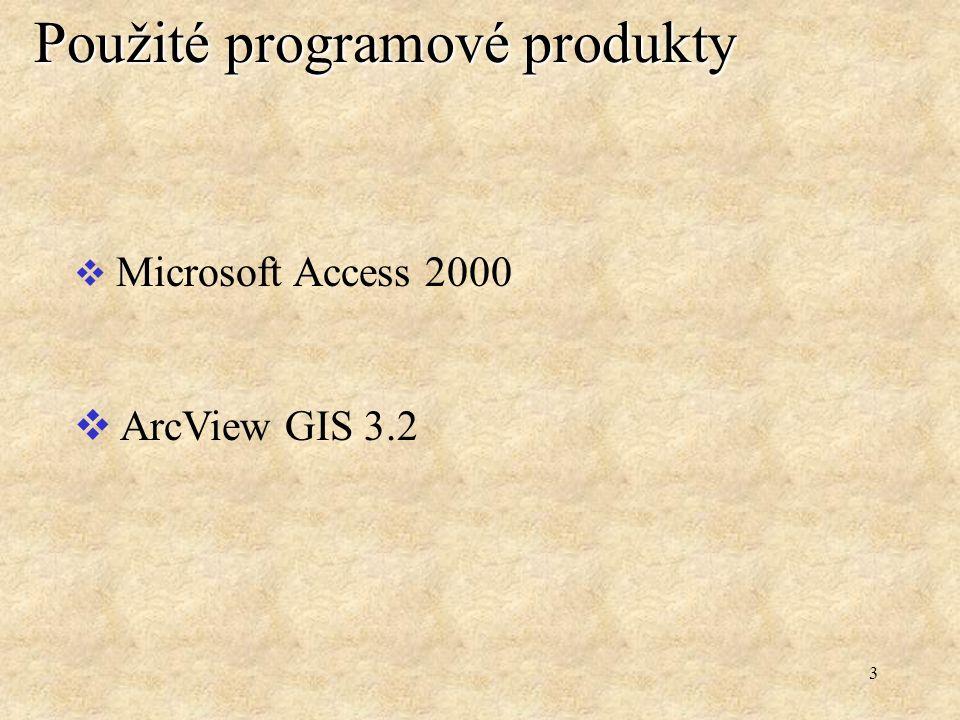 3 Použité programové produkty  Microsoft Access 2000  ArcView GIS 3.2
