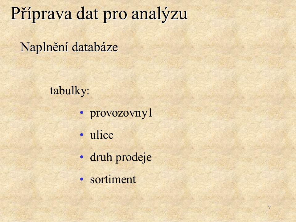 7 Příprava dat pro analýzu Naplnění databáze tabulky: provozovny1 ulice druh prodeje sortiment