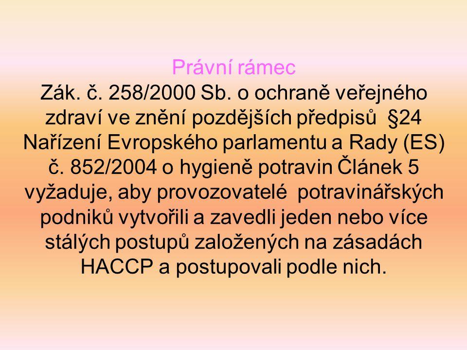 Právní rámec Zák. č. 258/2000 Sb. o ochraně veřejného zdraví ve znění pozdějších předpisů §24 Nařízení Evropského parlamentu a Rady (ES) č. 852/2004 o