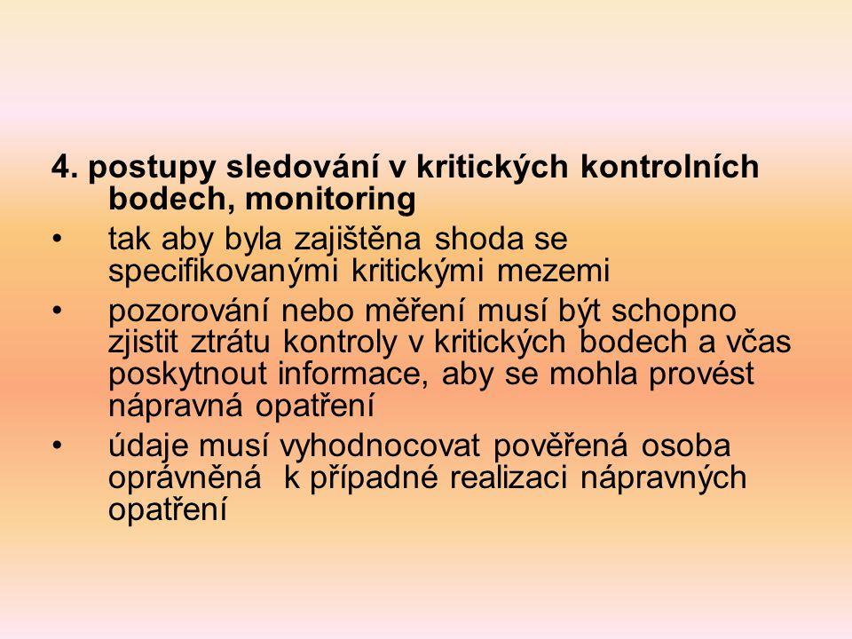 4. postupy sledování v kritických kontrolních bodech, monitoring tak aby byla zajištěna shoda se specifikovanými kritickými mezemi pozorování nebo měř
