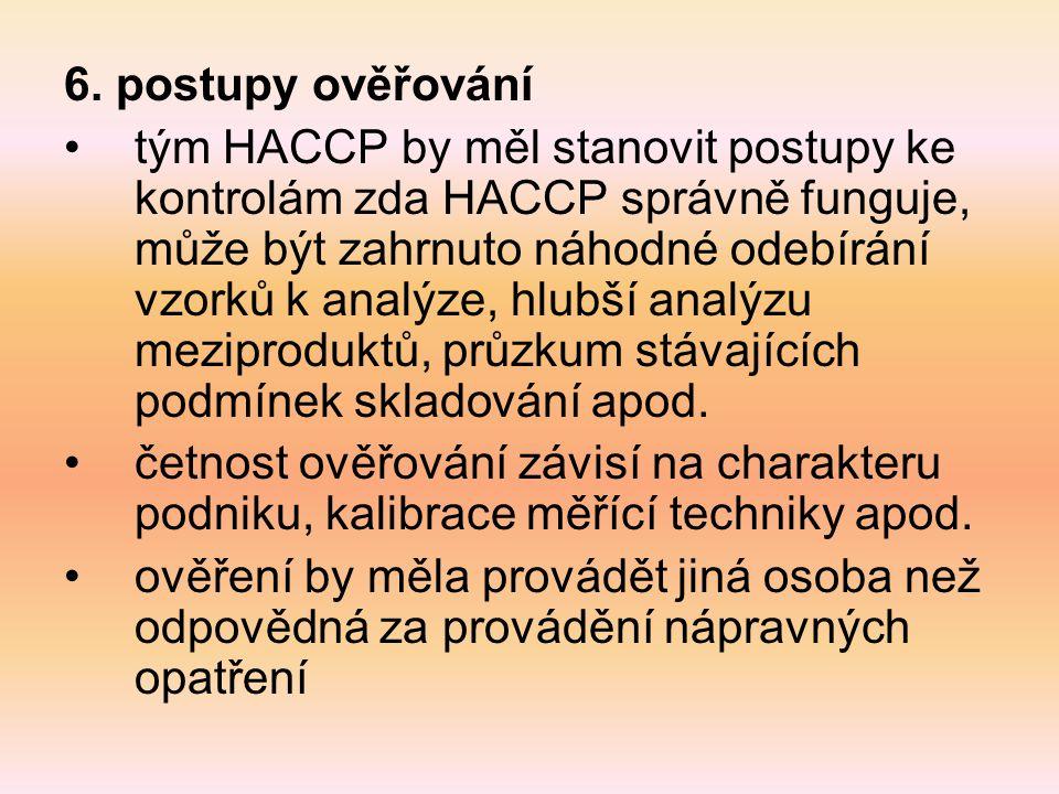 6. postupy ověřování tým HACCP by měl stanovit postupy ke kontrolám zda HACCP správně funguje, může být zahrnuto náhodné odebírání vzorků k analýze, h
