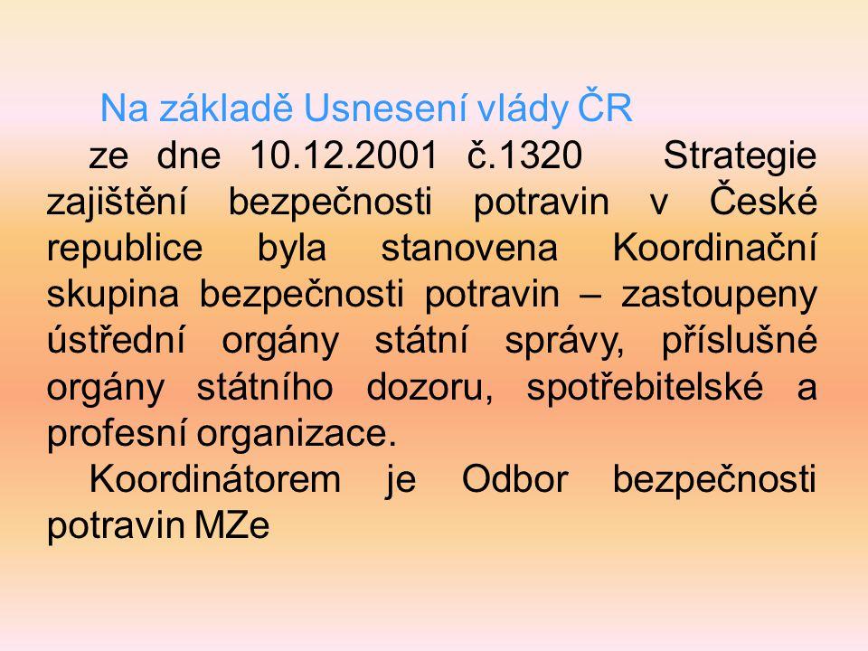 Na základě Usnesení vlády ČR ze dne 10.12.2001 č.1320 Strategie zajištění bezpečnosti potravin v České republice byla stanovena Koordinační skupina be