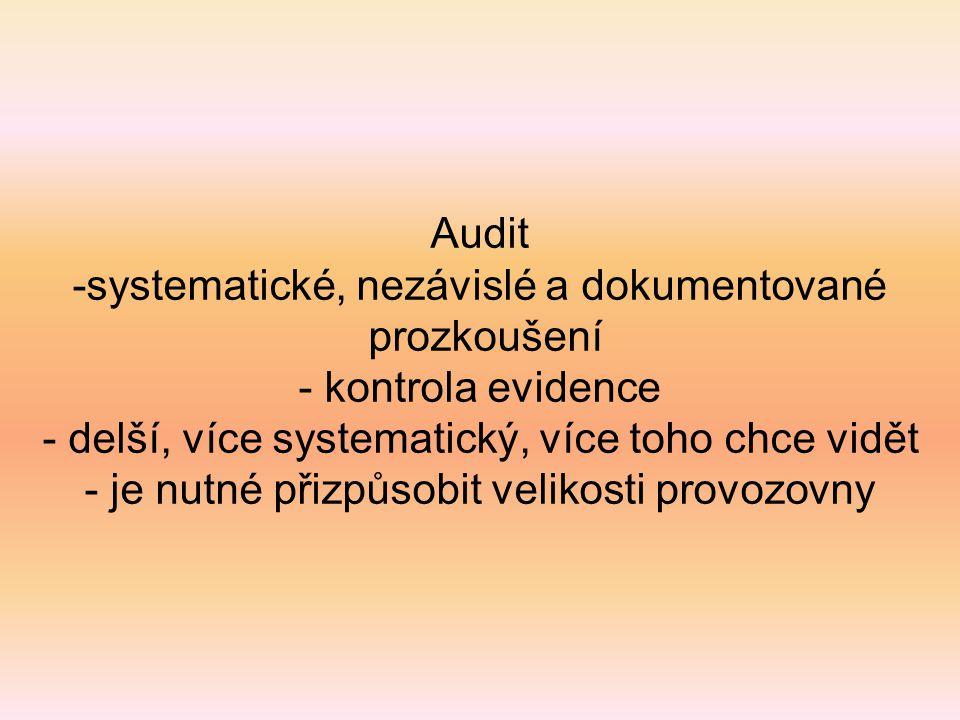 Audit -systematické, nezávislé a dokumentované prozkoušení - kontrola evidence - delší, více systematický, více toho chce vidět - je nutné přizpůsobit
