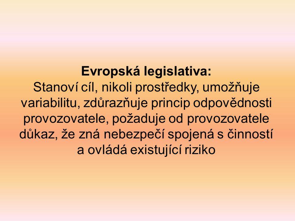 Evropská legislativa: Stanoví cíl, nikoli prostředky, umožňuje variabilitu, zdůrazňuje princip odpovědnosti provozovatele, požaduje od provozovatele d