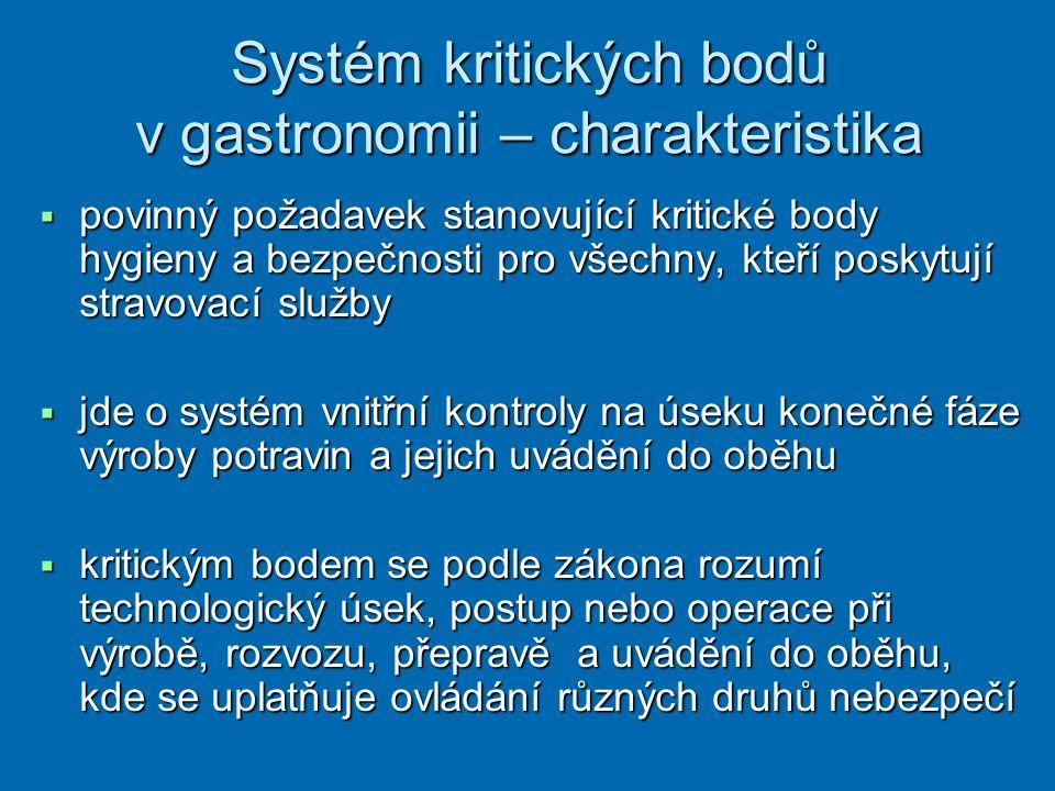 Systém kritických bodů v gastronomii – charakteristika  povinný požadavek stanovující kritické body hygieny a bezpečnosti pro všechny, kteří poskytuj