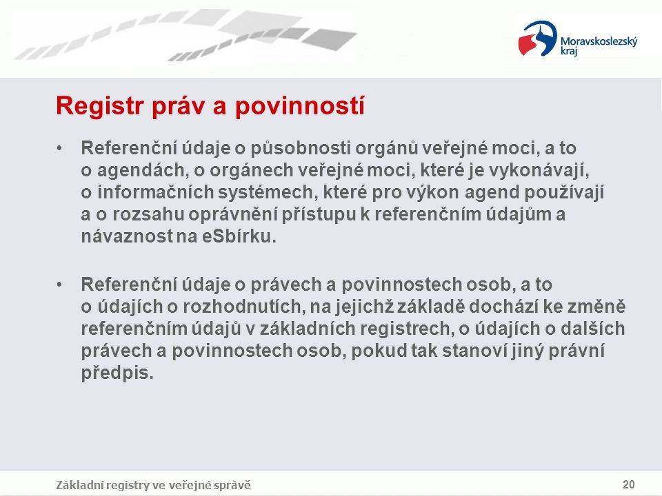 Základní registry ve veřejné správě 20 Registr práv a povinností Referenční údaje o působnosti orgánů veřejné moci, a to o agendách, o orgánech veřejn