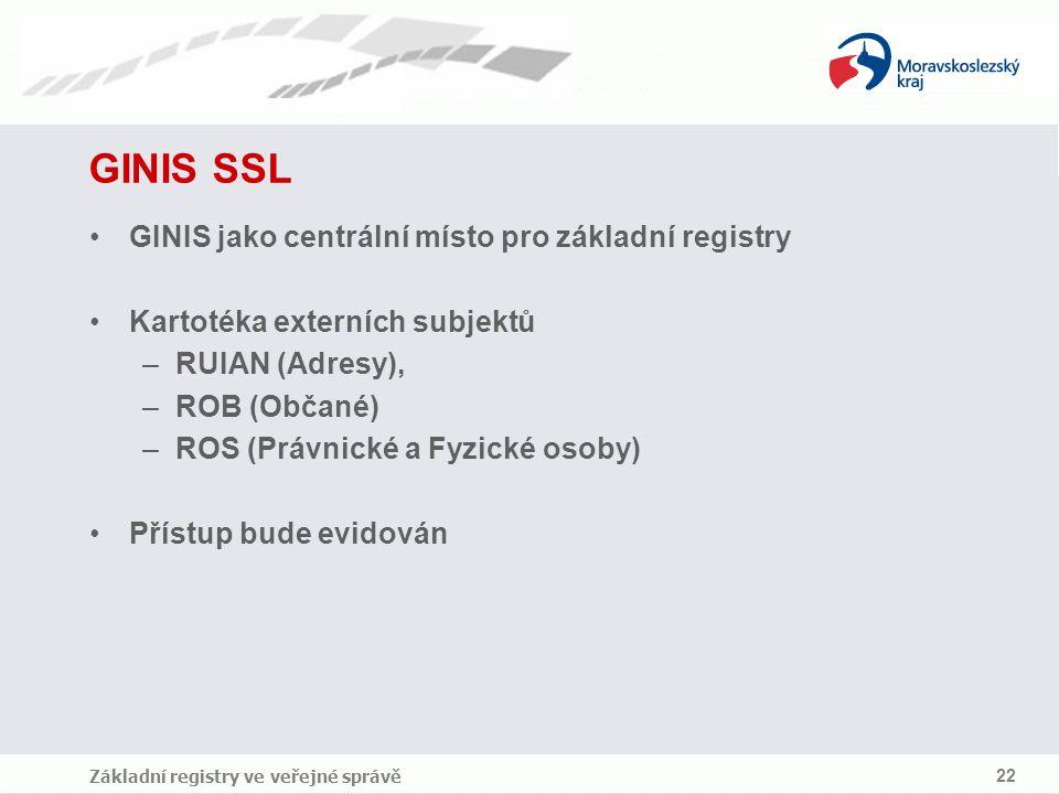 Základní registry ve veřejné správě 22 GINIS SSL GINIS jako centrální místo pro základní registry Kartotéka externích subjektů –RUIAN (Adresy), –ROB (