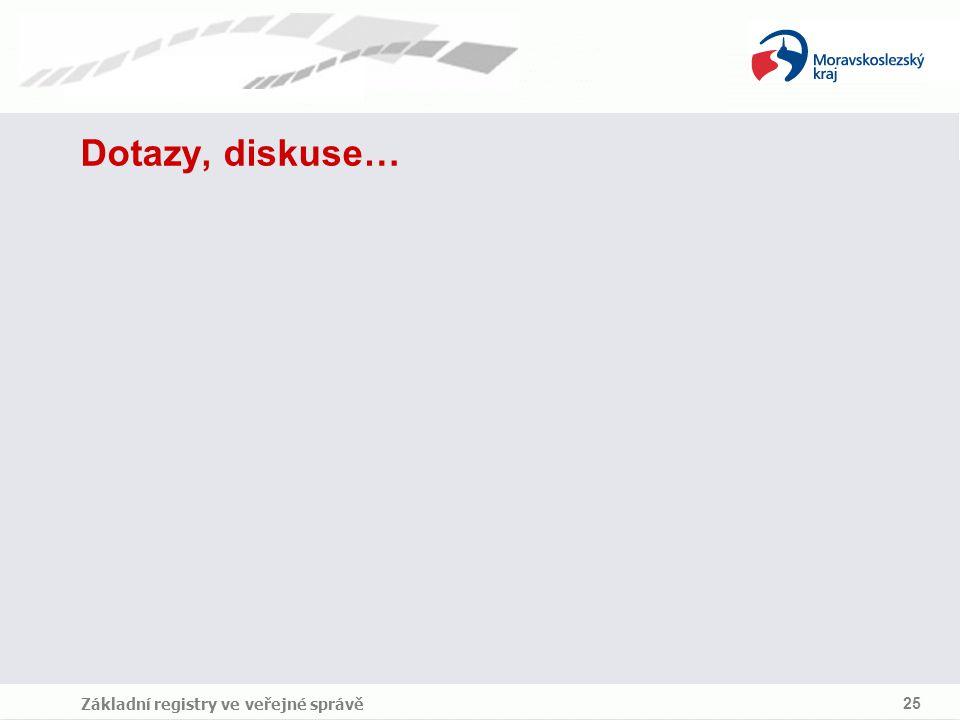 Základní registry ve veřejné správě 25 Dotazy, diskuse…