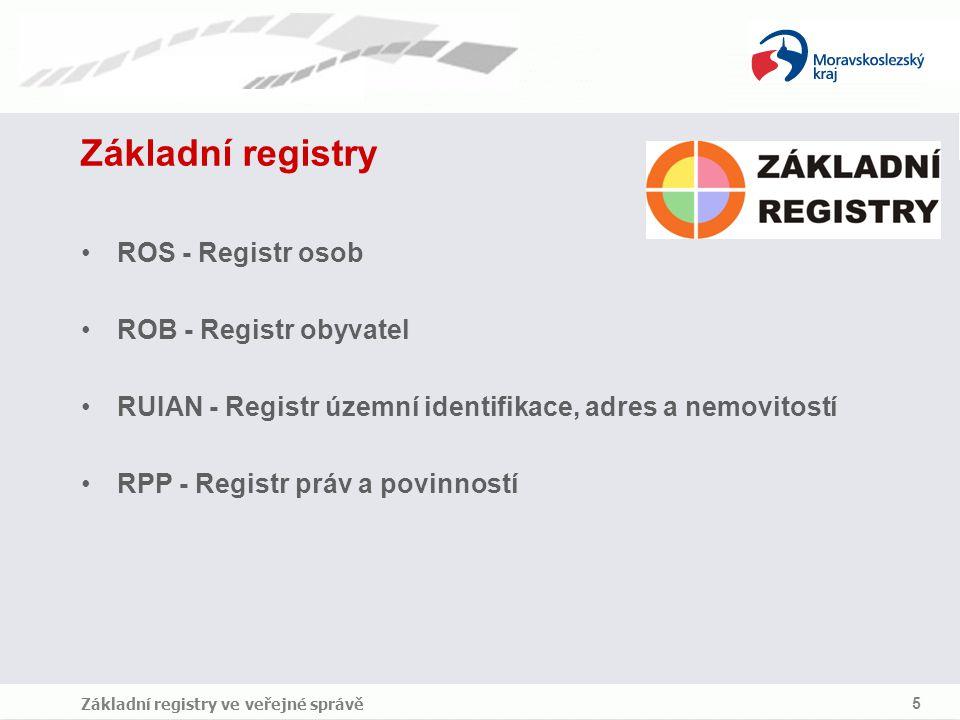 Základní registry ve veřejné správě 5 Základní registry ROS - Registr osob ROB - Registr obyvatel RUIAN - Registr územní identifikace, adres a nemovit