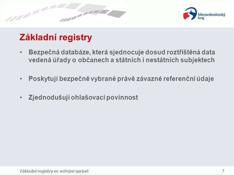 7 Základní registry Bezpečná databáze, která sjednocuje dosud roztříštěná data vedená úřady o občanech a státních i nestátních subjektech Poskytují be