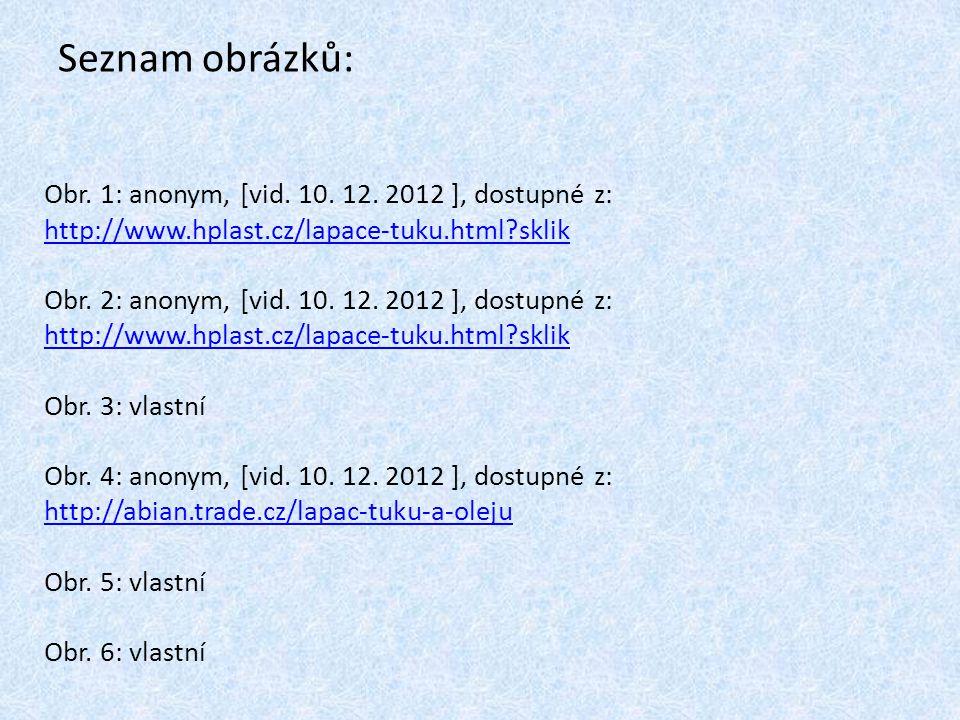 Seznam obrázků: Obr. 1: anonym, [vid. 10. 12. 2012 ], dostupné z: http://www.hplast.cz/lapace-tuku.html?sklik http://www.hplast.cz/lapace-tuku.html?sk