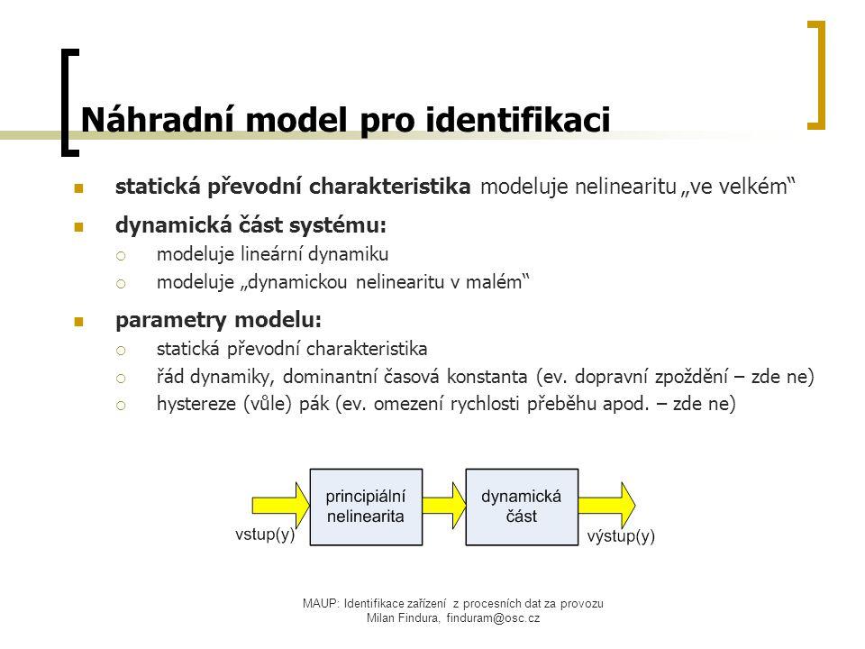 """MAUP: Identifikace zařízení z procesních dat za provozu Milan Findura, finduram@osc.cz Náhradní model pro identifikaci statická převodní charakteristika modeluje nelinearitu """"ve velkém dynamická část systému:  modeluje lineární dynamiku  modeluje """"dynamickou nelinearitu v malém parametry modelu:  statická převodní charakteristika  řád dynamiky, dominantní časová konstanta (ev."""