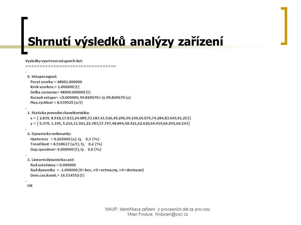 MAUP: Identifikace zařízení z procesních dat za provozu Milan Findura, finduram@osc.cz Shrnutí výsledků analýzy zařízení Vysledky vysetreni vstupnich dat: =================================.