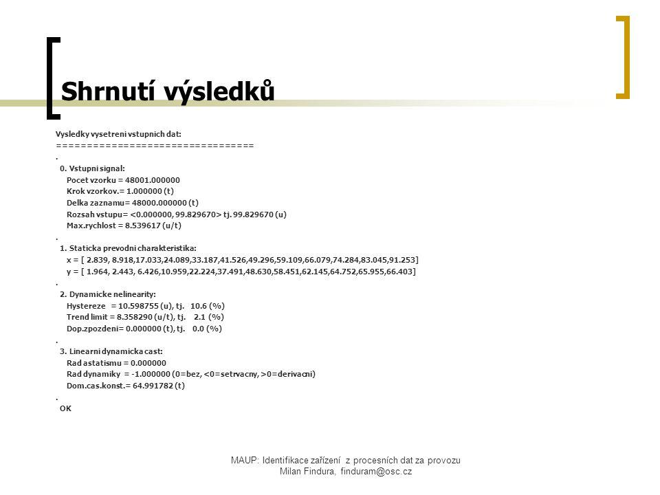 MAUP: Identifikace zařízení z procesních dat za provozu Milan Findura, finduram@osc.cz Shrnutí výsledků Vysledky vysetreni vstupnich dat: =================================.