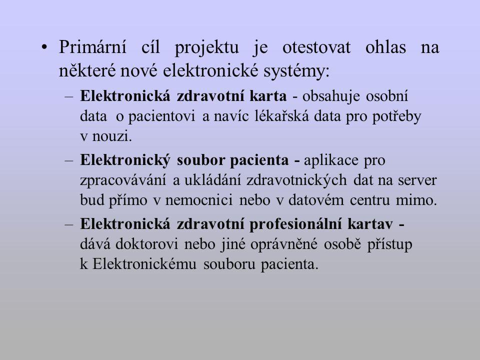 Primární cíl projektu je otestovat ohlas na některé nové elektronické systémy: –Elektronická zdravotní karta - obsahuje osobní data o pacientovi a navíc lékařská data pro potřeby v nouzi.