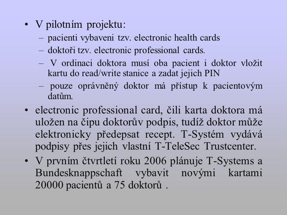 V pilotním projektu: –pacienti vybaveni tzv. electronic health cards –doktoři tzv.