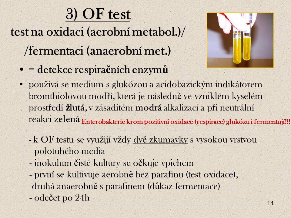 14 3) OF test test na oxidaci (aerobní metabol.)/ /fermentaci (anaerobní met.) = detekce respira č ních enzym ů pou ž ívá se medium s glukózou a acidobazickým indikátorem bromthiolovou mod ř í, která je následn ě ve vzniklém kyselém prost ř edí ž lutá, v zásaditém modrá alkalizací a p ř i neutrální reakci zelená - k OF testu se vyu ž ijí v ž dy dv ě zkumavky s vysokou vrstvou polotuhého media - inokulum č isté kultury se o č kuje vpichem - první se kultivuje aerobn ě bez parafinu (test oxidace), druhá anaerobn ě s parafinem (d ů kaz fermentace) - ode č et po 24h Enterobakterie krom pozitivní oxidace (respirace) glukózu i fermentují!!!