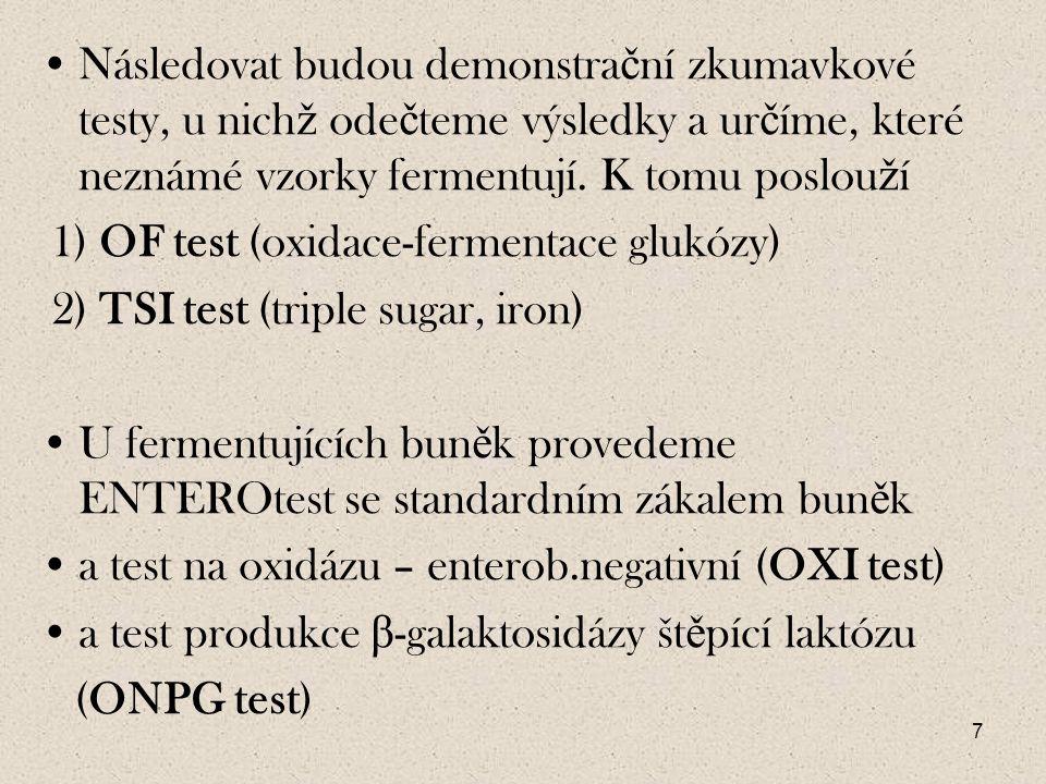 28 Hodnocení na desti č ce: Po kultivaci testu ode č ítáme pozitivitu č i negativitu reakcí podle tabulky interpretace reakcí.