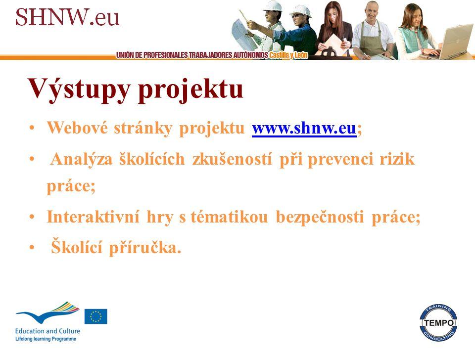 Výstupy projektu Webové stránky projektu www.shnw.eu;www.shnw.eu Analýza školících zkušeností při prevenci rizik práce; Interaktivní hry s tématikou bezpečnosti práce; Školící příručka.