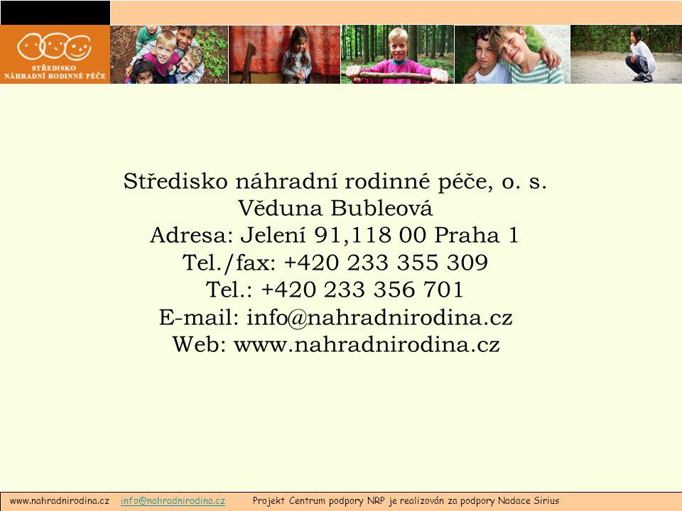 www.nahradnirodina.cz info@nahradnirodina.cz Projekt Centrum podpory NRP je realizován za podpory Nadace Siriusinfo@nahradnirodina.cz Středisko náhradní rodinné péče, o.