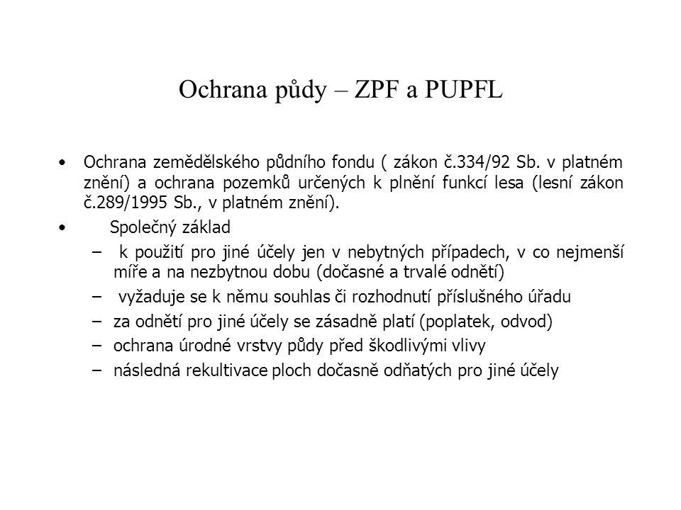 Ochrana půdy – ZPF a PUPFL Ochrana zemědělského půdního fondu ( zákon č.334/92 Sb. v platném znění) a ochrana pozemků určených k plnění funkcí lesa (l