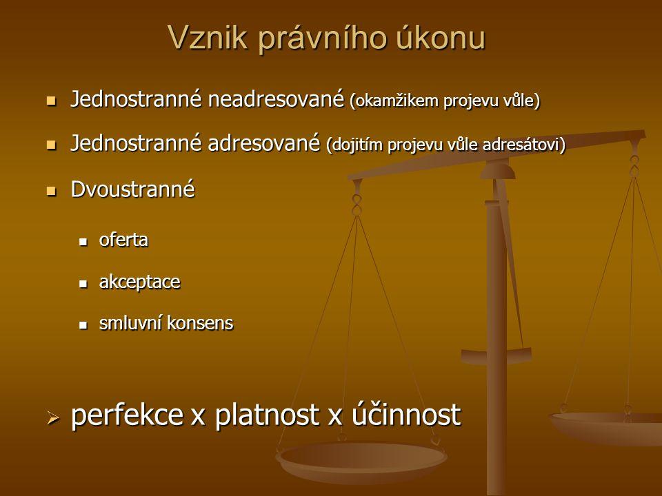Vznik právního úkonu Jednostranné neadresované (okamžikem projevu vůle) Jednostranné neadresované (okamžikem projevu vůle) Jednostranné adresované (do