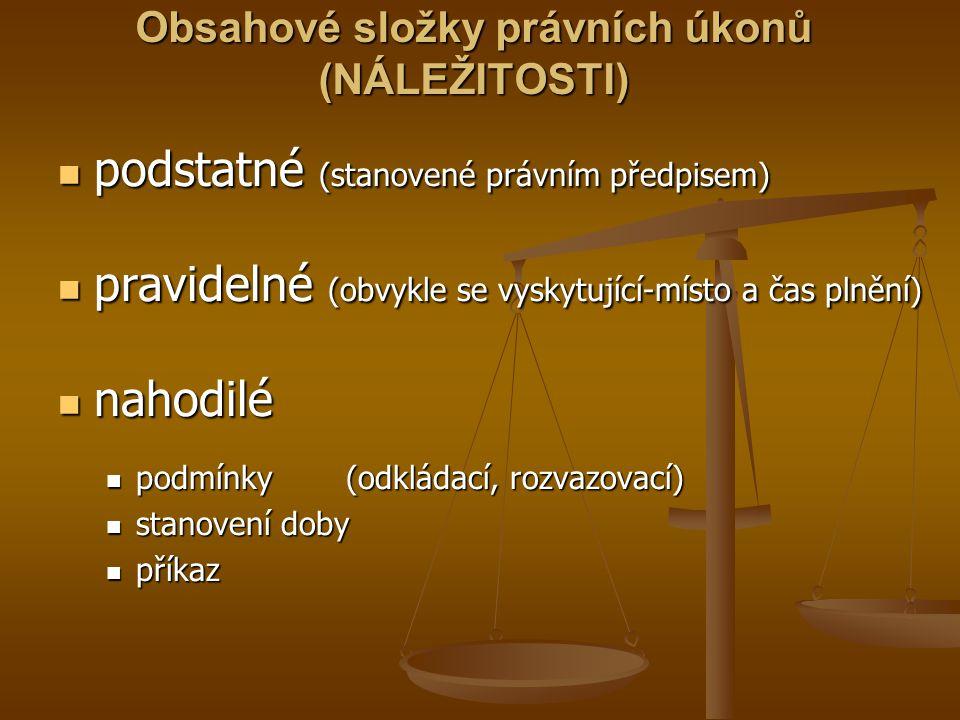 Obsahové složky právních úkonů (NÁLEŽITOSTI) podstatné (stanovené právním předpisem) podstatné (stanovené právním předpisem) pravidelné (obvykle se vy