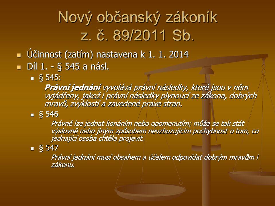 Nový občanský zákoník z. č. 89/2011 Sb. Účinnost (zatím) nastavena k 1. 1. 2014 Účinnost (zatím) nastavena k 1. 1. 2014 Díl 1. - § 545 a násl. Díl 1.