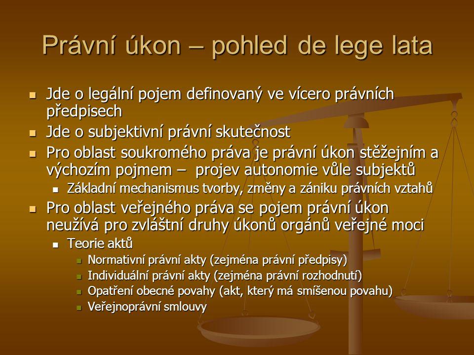 Právní úkon – pohled de lege lata Jde o legální pojem definovaný ve vícero právních předpisech Jde o legální pojem definovaný ve vícero právních předp