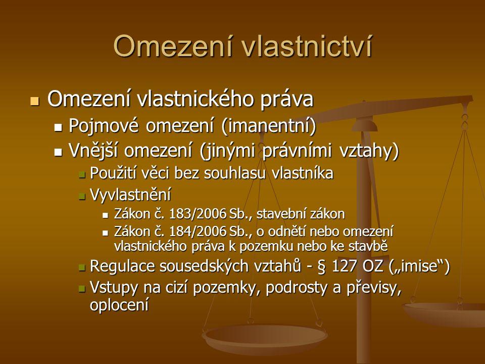 Omezení vlastnictví Omezení vlastnického práva Omezení vlastnického práva Pojmové omezení (imanentní) Pojmové omezení (imanentní) Vnější omezení (jinými právními vztahy) Vnější omezení (jinými právními vztahy) Použití věci bez souhlasu vlastníka Použití věci bez souhlasu vlastníka Vyvlastnění Vyvlastnění Zákon č.