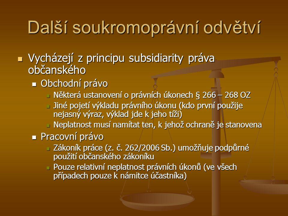 Další soukromoprávní odvětví Vycházejí z principu subsidiarity práva občanského Vycházejí z principu subsidiarity práva občanského Obchodní právo Obch