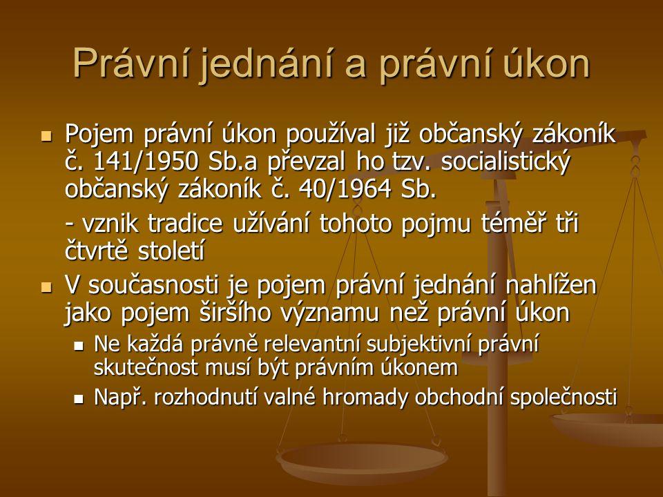 Právní jednání a právní úkon Pojem právní úkon používal již občanský zákoník č. 141/1950 Sb.a převzal ho tzv. socialistický občanský zákoník č. 40/196